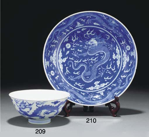 A Chinese blue and white drago