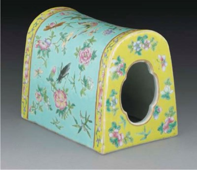 A Chinese famille rose pillow,
