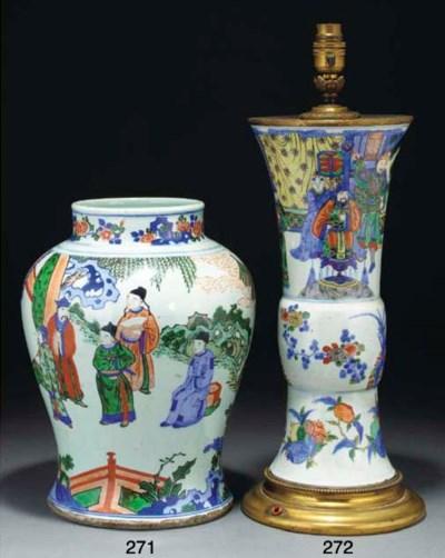A Chinese wucai gu-vase, 19th