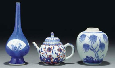 A Chinese blue and white sprin