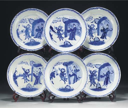 Six Chinese blue and white sau