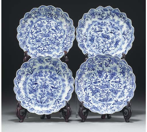 Four Chinese blue and white lo