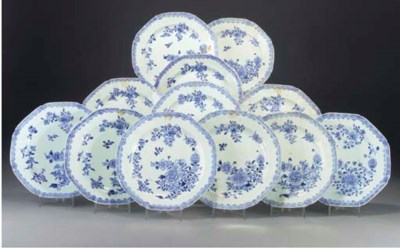 Twelve Chinese blue and white