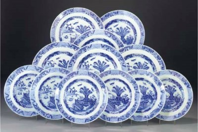 Ten Chinese blue and white din