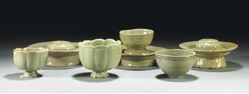 Three Korean celadon cup stand