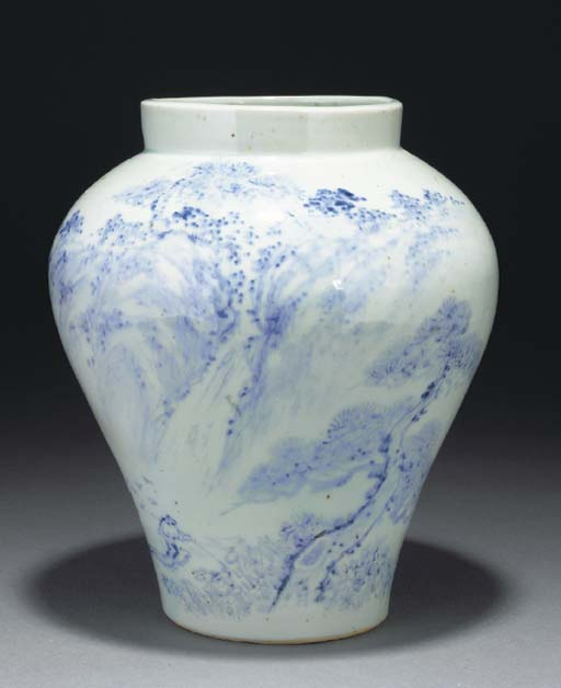 A Korean blue and white balust