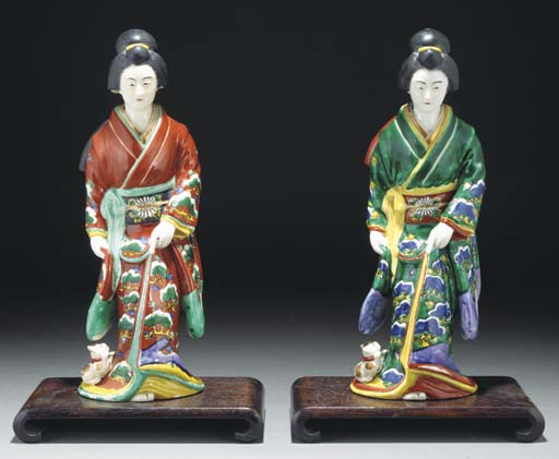 Two Japanese Kutani figures of