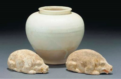 A cream glazed tapering jar, T