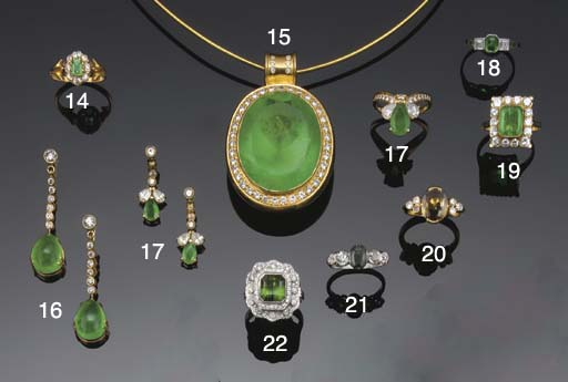 An 18ct. gold, emerald and dia