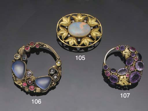 An opal and diamond brooch by