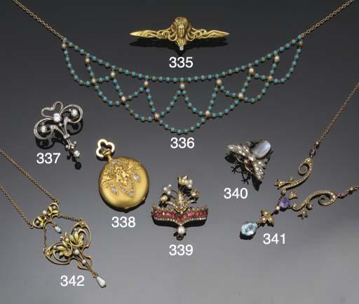 An Art Nouveau, gold and diamo
