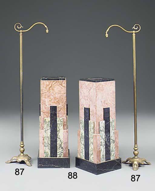 A pair of brass standard lamps