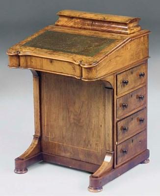 A Victorian walnut and inlaid