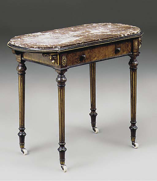A VICTORIAN WALNUT MARBLE TOPP