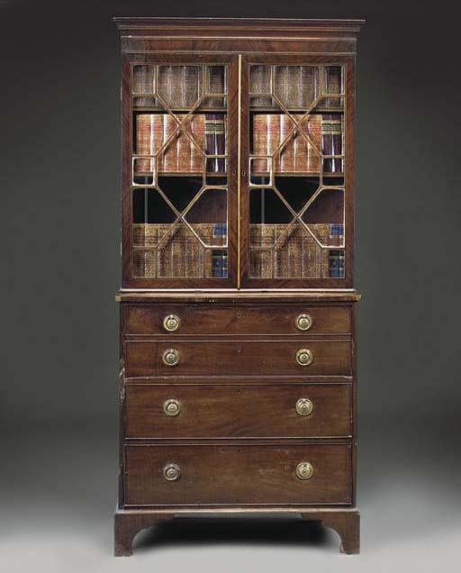 A MAHOGANY SECRETAIRE CHEST BO