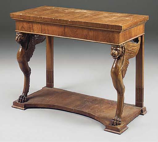 AN ITALIAN WALNUT CONSOLE TABL