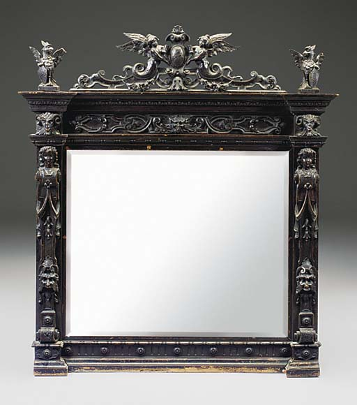 AN ITALIAN EBONISED PINE OVERM