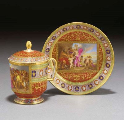 A Vienna-style cup, cover and