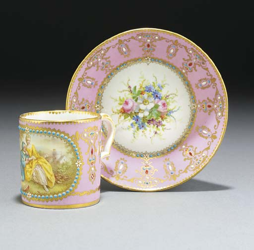 A Sèvres-style 'jewelled' pink