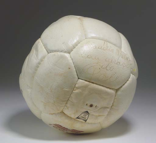 A WHITE LEATHER GUARDIAN FOOTB