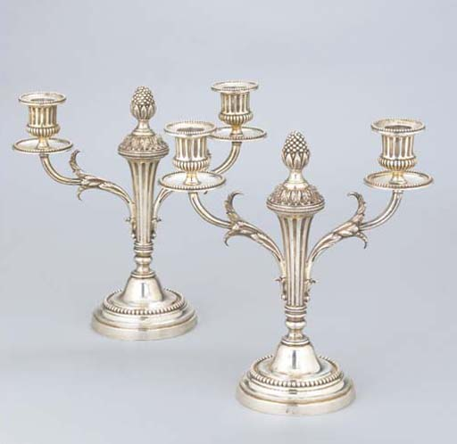 A PAIR OF FRENCH SILVER TWO-LI