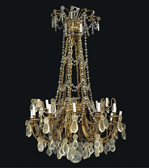 A LARGE GILT BRONZE AND GLASS