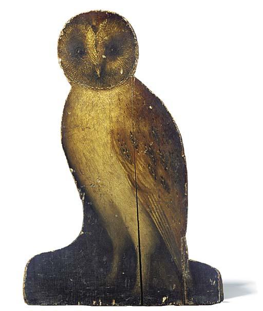 A GEORGE III PAINTED WOOD OWL
