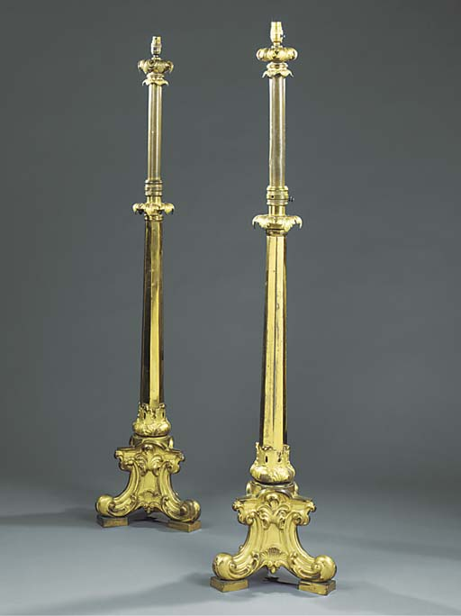 A PAIR OF GILT BRONZE AND BRAS