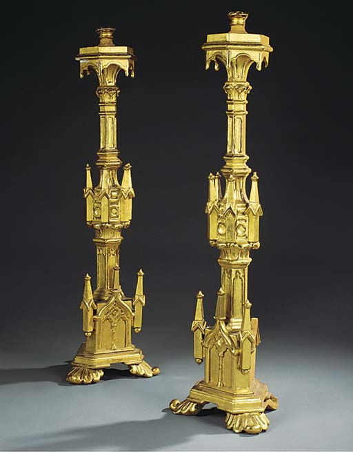 A pair of gothic revival giltw