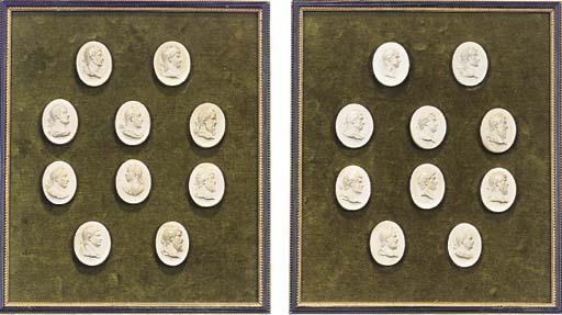 Four frames of plaster intagli