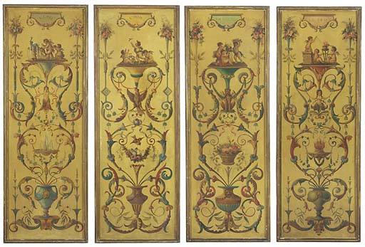 FOUR FRENCH PAINTED PANELS OF