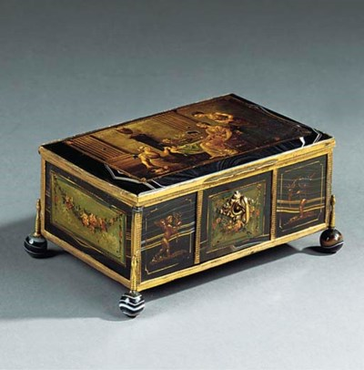 A FRENCH GILT METAL AND PAINTE