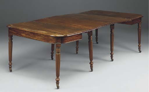 A REGENCY MAHOGANY D-END DININ