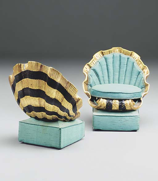 A PAIR OF GILT AND EBONISED SC