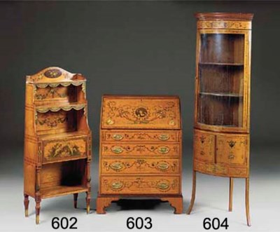A SATINWOOD AND DECORATED BURE