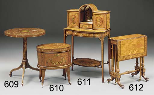 AN EDWARDIAN SATINWOOD AND DEC