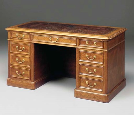 A FRENCH WALNUT PEDESTAL DESK