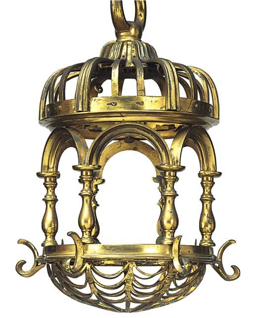 A gilt brass lantern