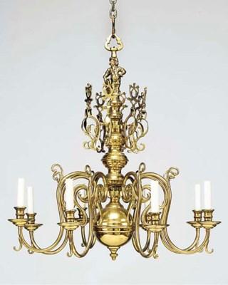 A brass eight light chandelier