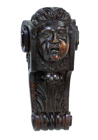 A Carved limewood corbel