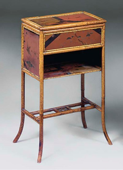 A VICTORIAN BAMBOO AND LACQUER