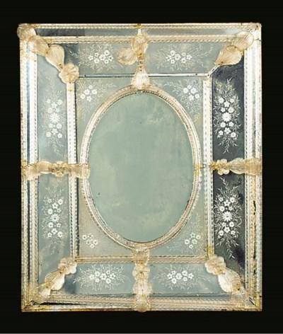 A VENETIAN GLASS MARGINAL MIRR