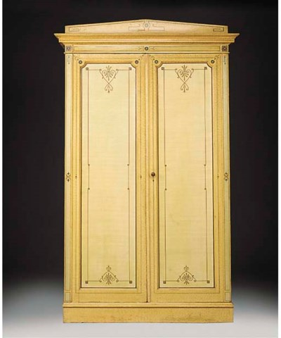 A VICTORIAN PAINTED WARDROBE