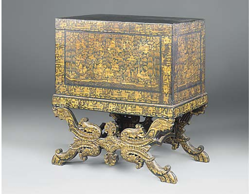 AN INDIAN BLACK AND GILT LACQU