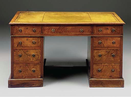 AN EDWARDIAN WALNUT VENEERED P