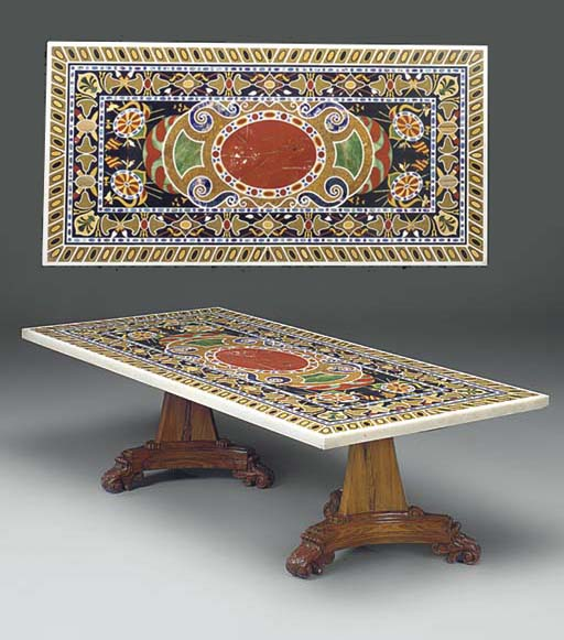 A MODERN TWIN PEDESTAL TABLE