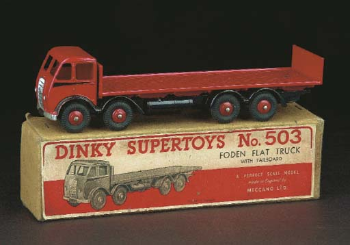 A Dinky red 503 Foden Flat Tru