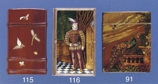 A wooden card case