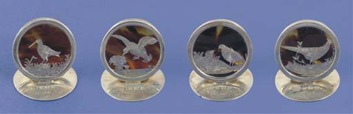 A set of four silver mounted t