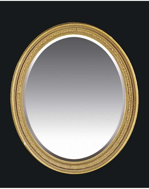 A GILTWOOD AND GESSO OVAL MIRR